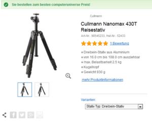 Cullmann Nanomax 430T von Reisestativ